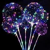 Sunshine smile 6 Stücke Leuchtende Luftballons,Led Helium Ballons mit Ständer,LED Luftballon mit Stab,Led Ballon Bunt,Leuchtballons für Weihnachten&Hochzeit Deko,Halloween