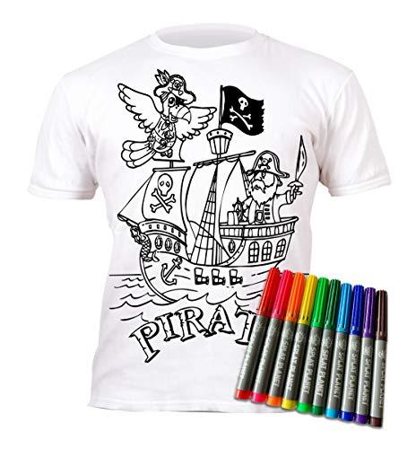 Splat Planet Camiseta FÚTBOL niño. con preimpresión para Pintar y Colorear. Se suministra Junto a Seis lápices de Colores Magic Lavables.3-4 años de los niños de Ocio; Juego Creativo para Regalo.