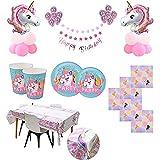 Kit de Artículos para Fiesta Cumpleaños Infantil Niña Unicornio - Vajilla Desechable Rosa y Decoración