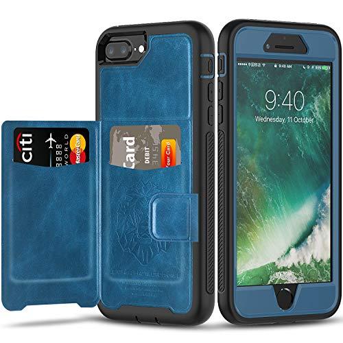 Timecity Funda para Apple iPhone 6/7/8 Plus (5.5 Pulgadas),Cuero Protector de Alta Resistencia Cubierta con Tarjetero Funda para iPhone 6/7/8 Plus Release- Azul