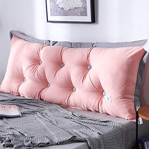 Reading Pillows Bedroom Wedge Pillow Cotton Headboard Backrest Back Cushion Comfortable Lace Reading Support Pillows Daybed Removable Washable,Pink-100×60×20cm