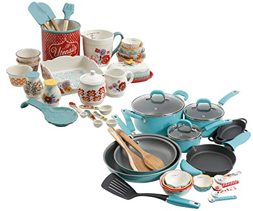 The Pioneer Woman Vintage Speckle 24-Piece Cookware Combo Set in Turquoise bundle with Copper Charm...