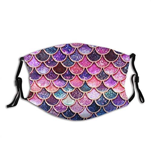 Mascarilla de sirena con purpurina rosa, con bolsillo de filtro,...
