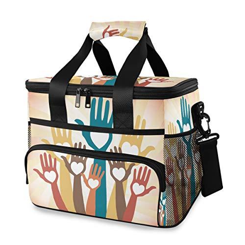 Ijszak lunch bag koelbox elementen hands up picknick draagbare houder schouderriem