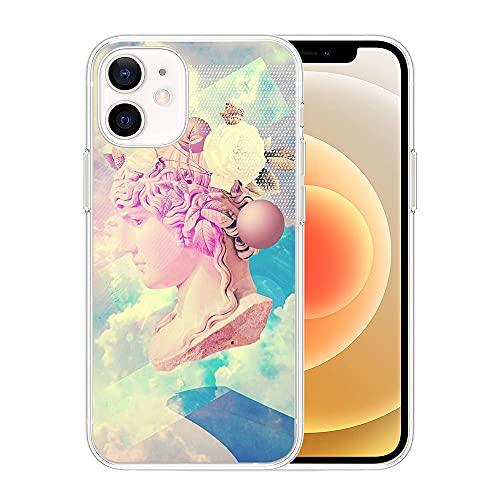 APHT Arte Scultura Phone Custodia Compatibile con iPhone 5-12 PRO Max TPU Silicone Morbida Cool Funny Stampato Designer Slim Cover
