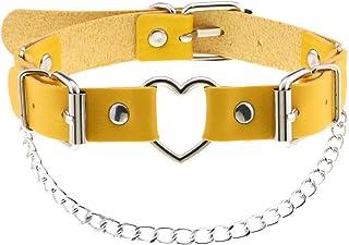 Women Heart Leather Choker Necklace Girls Punk Rock Chain Rivet PU Collar Necklace Adjustable