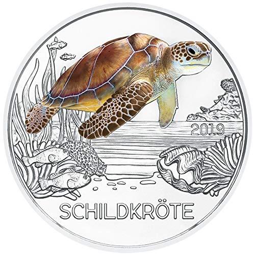 DEUTSCHER MÜNZEXPRESS Tiertaler - Schildkröte Österreich 2019 | Buntmetall Münze zum Sammeln | 3 Euro