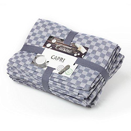 Lumaland Geschirrtücher Capri Serie in zwölf Farben 10 Stück pro Set 100% Baumwolle 46 x 70 cm Grau - Weiß