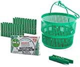 Remake Porta Mollette Bucato da Esterno + 30 Mollette. Ecologiche in Plastica 95% Riciclata. Made in Italy. Misura Grande. Ideali per Appendere Panni Bucato Esterno. Resistenti e Antivento