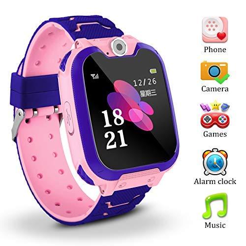 Jaybest Kinder Smart Watch Telefon GPS/LBS Tracker, Kids smartwatch mit SOS Kamera Anti-verlorene Voice Chat für Jungen Mädchen Geburtstagsgeschenke(Pink)