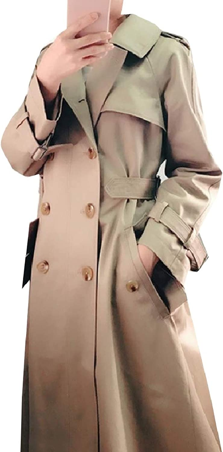 Abetteric Women Double Button Outwear Smocked Waist Baggy Trench Coat Jacket