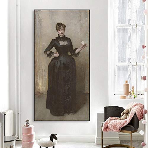 Canvas schilderij dame olieverfschilderij en roos schilderij poster wanddecoratie moderne huisdecoratie
