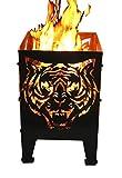 Svenska Feuerkorb Modell Tiger Feuerstelle Größe XXL Feuersäule aus Stahl 35,5 x 37,0 x 75 cm