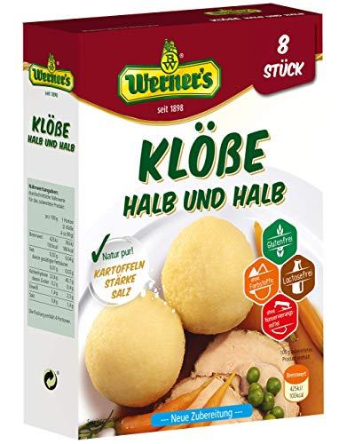 Werner´s Klöße Halb & Halb 8 Stück, 10 Packungen pro Karton, glutenfrei, laktosefrei, zum selbstformen, ohne Farbstoffe, ohne zugesetzte Aromen, (6,85 € / kg)