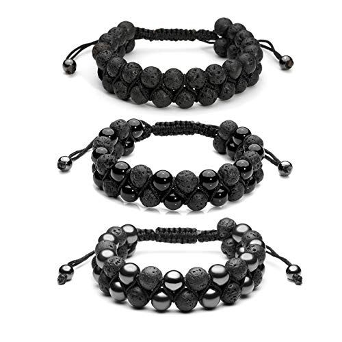 Top Plaza 3 Pcs Men Women 8mm Lava Rock Stone Aromatherapy Essential Oil Diffuser Bracelets Braided Rope Natural Stone Yoga Beads Bracelet - Lava Stone + Magnetic Hematite + Black Agate Onyx