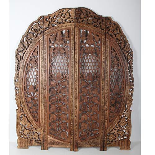 Casa Moro Orientalischer Paravent Raumteiler Rana 153x182 cm braun 4 teilig aus massiv Mangoholz & MDF | Indische Trennwand als Raumtrenner & schöne Dekoration | Kunsthandwerk Pur | PV7030