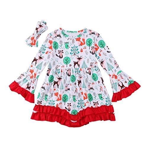 OVERDOSE 2 Stücke Weihnachten Kleid + Stirnbänder, Rüsche Langarm Kleid Bedruckter Bund Cartoon Deer Print Outfits Tops Bluse Kleid + Stirnbänder Weihnachtskostüm Set(5T,A-Grün)