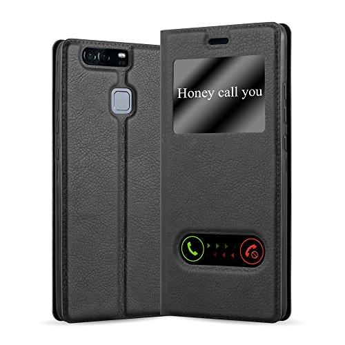Cadorabo Hülle für Huawei P9 - Hülle in KOMETEN SCHWARZ – Handyhülle im Standfunktion und 2 Fenstern (View Design) - Case Cover Schutzhülle Etui Tasche Book Klapp Style