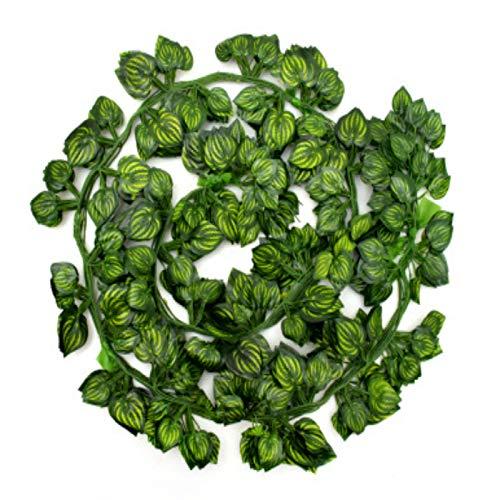 NZBZ 12 hojas artificiales de guirnalda y hojas verdes plantas de vid falsas para decoración de pared de jardín de bodas al aire libre/interior colgantes plantas artificiales