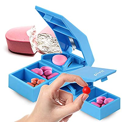 Pivit Stainless Steel Blade Pill Splitter/Cutter   Safely Cuts and Stores Medication and Vitamins   Cuts Pills in Half for Easier Swallowing Or Smaller Doses   Two Compartments for Storage of Pills