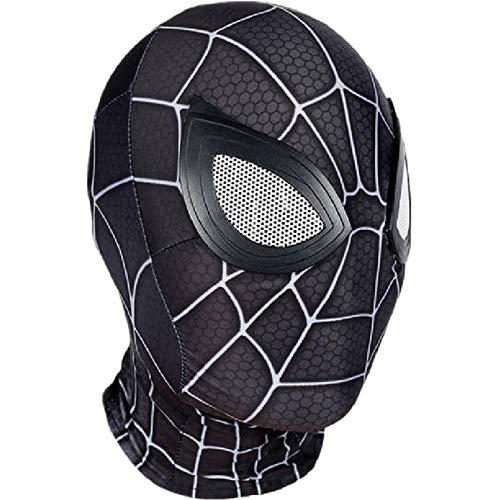 QWEASZER Peter Parker Spider-Man Maske schwarz Miles Morales Kopfbedeckung Marvel Avengers Lycra Vollmaske Halloween Film Cosplay Kostüm Requisiten Zubehör,Spiderman C-OneSize