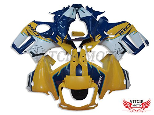 VITCIK (Fairing Kits Fit for Honda CBR600F3 CBR600F 1997 1998 CBR 600 F3 97 98 Plastic ABS Injection Mold Complete Motorcycle Body Aftermarket Bodywork Frame (Yellow & Blue) A006