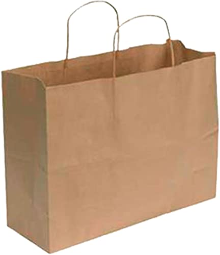"SSWBasics Kraft Paper Shopping Bag - Large (16""L x 6""D x 12 ½""H) - Case of 100"