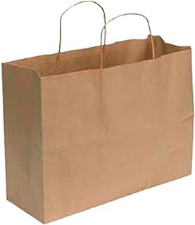 """کیسه خرید SSWBasics Kraft Paper - بزرگ (16 """"L x 6"""" D x 12 ½ """"H) - مورد 100"""