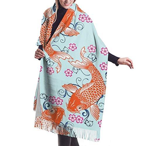 Fondo de pez carpa Floral imitar Cachemira Sensación Bufanda de invierno Pashmina Chal Wraps Suave manta cálida Bufandas Abrigo elegante para mujer
