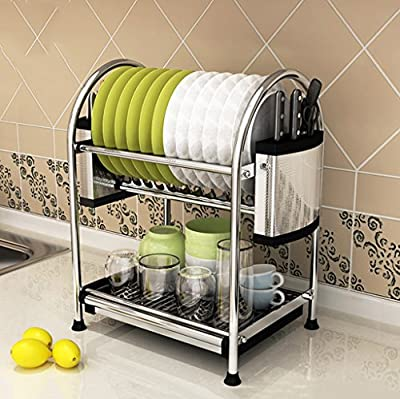 201 Stainless Steel Racks European Style Floor 2 Floor Free Drilling Storage Dishes Drain Frame Ventilation Environmental Health Not Deformed Kitchen Supplies (Color : C) from Shariv