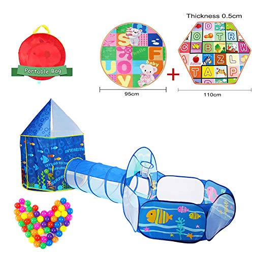 3 in 1 Kids Play Tent Crawl Tunnel and Ball Pit Set Toddlers Play Ground or Room Play Tunnel Hut Indoor and outdoor Activity at Home for Great Gift for Girls Boys