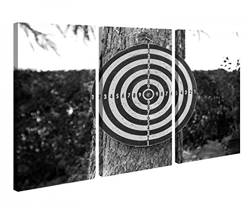 Leinwandbild 3 Tlg. Sport Dart Darts Zielscheibe schwarz weiß Leinwand Bild Bilder Holz fertig gerahmt 9R845, 3 tlg BxH:90x60cm (3Stk 30x 60cm)