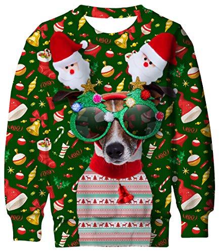 Boys Christmas Sweater Size 8-9 Years Funny Dog Kids Ugly Sweatshirt for X-mas