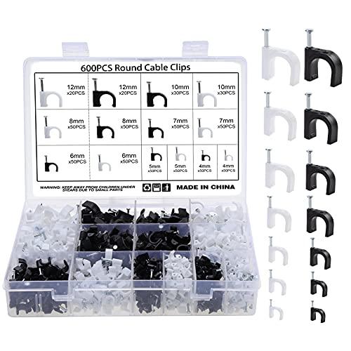Fippy 600 Stücke Kabelschellen Nagelschellen 4mm 5mm 6mm 7mm 8mm 10mm 12mm Schwarz Weiß Kabel Nagel Befestigung Nagel für Netzwerkkabel mit tragbarer Box