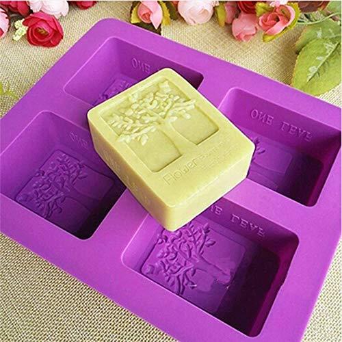Boom gevormde paarse rechthoek siliconen mal 4 gat zeep schimmel kunst en ambachten chocolade taart vormen hand maken gereedschap