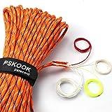 PSKOOKNew Paracord Fuegos Starter Cord La CuerdadeParacaídasdeNailonpara Kit de Supervivencia FireCordcon Yute Encerada la línea de Pesca y el Hilado de algodón (Orange Camo, 100FT)