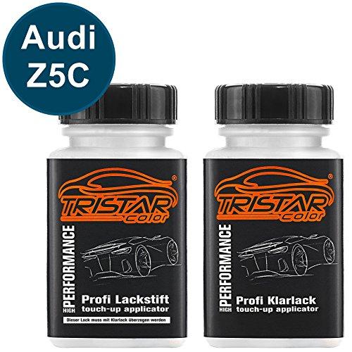 TRISTARcolor Autolack Lackstift Set für Audi Z5C / LZ5C Mauritius Blau Perl Metallic Basislack Klarlack je 50ml
