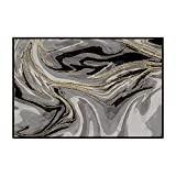 Alfombra Salon,Alfombras De Habitacion,Patrón de mármol Gris Oro Negro Alfombra de Design Moderno para Cocina, Pasillo, Habitacion, Exterior 160 x 230 cm