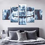 5 piezas de lienzo de rayos x dientes cuadro dental cuadro de la lona pintura decoración de la habitación impresión del cartel arte de la pared-100 * 55 cm-enmarcado
