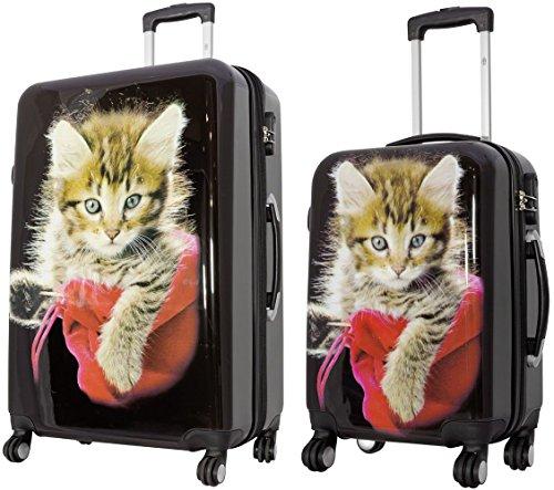 KoTaRu Designerkoffer Mieze-Katze Kofferset Trolley Koffer Reisekoffer Bordgepäck, Grösse:XL & S