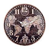 Reloj de Pared Decorativo de Metal Multicolor Mapamundi .Adornos. Decoración Hogar....