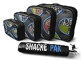 Shacke Pak - 4 Set Packing Cubes - Travel Organizers with Laundry Bag (Black/Blue)