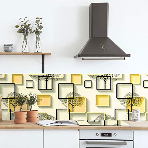 Self-Adhesive Wallpaper Paper for Wall Light Yellow Vinyl Wallpaper Peel & Stick Wallpaper Modern Square Trees Three-Dimensional Stitching Wallpaper Shelf Paper for Wall Decal,17.7'×236'