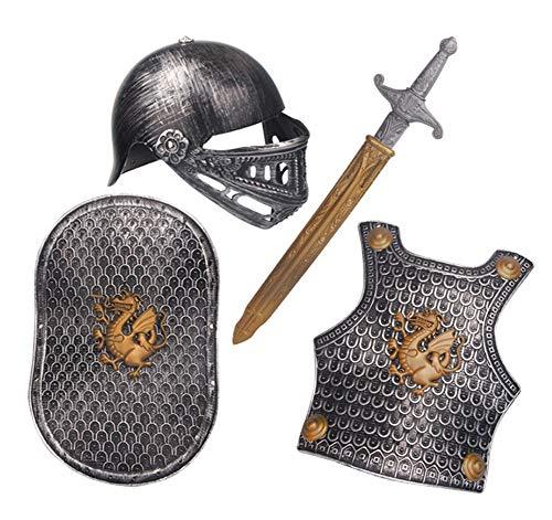 Lvbeis Armatura Cavaliere Medievale-Spada,Scudo,Corazza,Casco,Bambini Guerriero Cosplay,Bronze