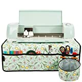 PACMAXI Machine Pad for Cricut Maker, Pad for Table with Pockets for Cricut Accessories, Water-Resistant Machine Mat Organizer, Pad Organizer for Cricut Accessories (Flower with Green Background)