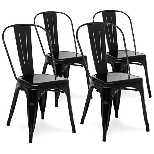 Best Choice Products Set of 4 Stackable Industrial Metal Bistro Dining Side Chairs for Home, Dining Room, Café - Black