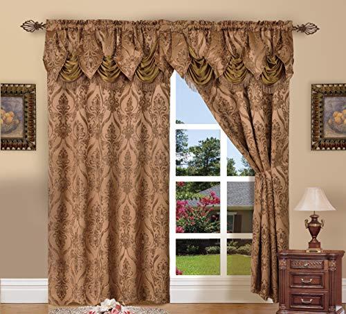 Elegant Comfort Penelopie Jacquard Look Curtain Panel Set, 54 by 84-Inch, Brown, Set of 2