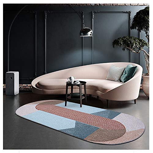 Ovale tapijt, woontapijt, geometrische patronen, Classic Art, gemakkelijk te reinigen, anti-slip mattendeken, voor eetkamer woonkamer (1,8 kg/m2)