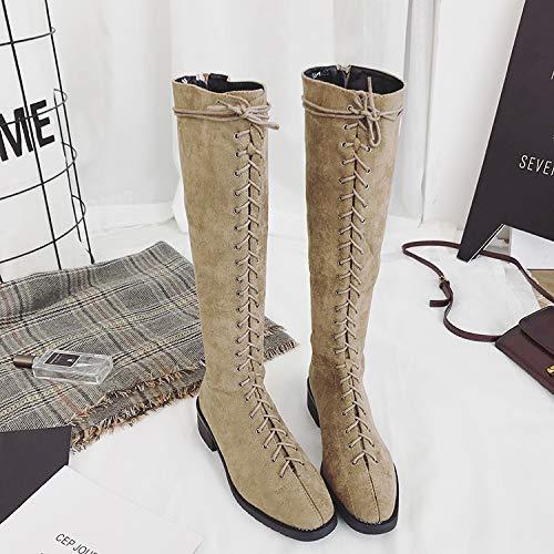 Shukun enkellaarsjes Herfstlaarzen, kinderknielaarzen, hoge hakken, winterdik, middelste laarzen, platte hoge laarzen, Martin laarzen
