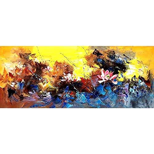 JHGJHK Arte Abstracto Flor de Loto Pintura al óleo Pintura sin Marco para la decoración de la Sala de Estar decoración del hogar Regalos (Imagen 8)